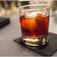 boulevardier cocktail on the rocks