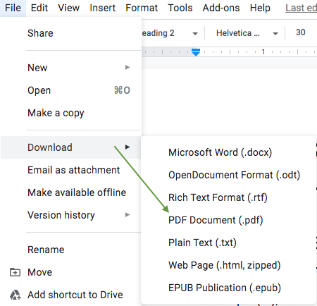 how to make a PDF file in Google Docs