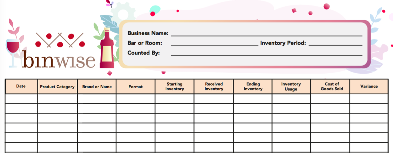 Free Bar Inventory Spreadsheet Template Pdf Excel