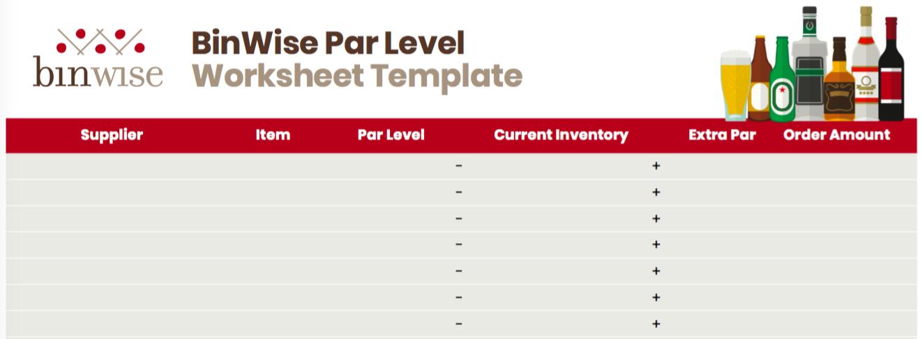 blank par level worksheet template