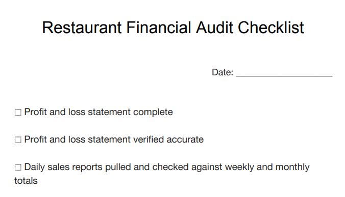 restaurant financial audit checklist