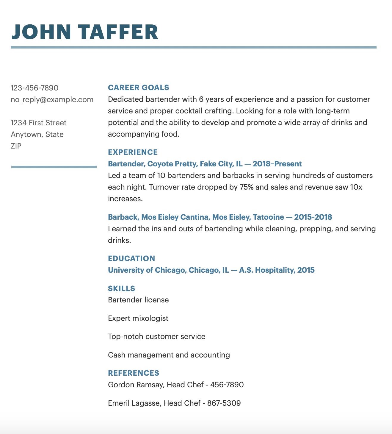 Bartender Resume Example