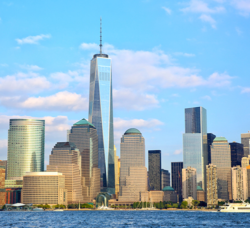 New York City skyline featuring Freedom Tower