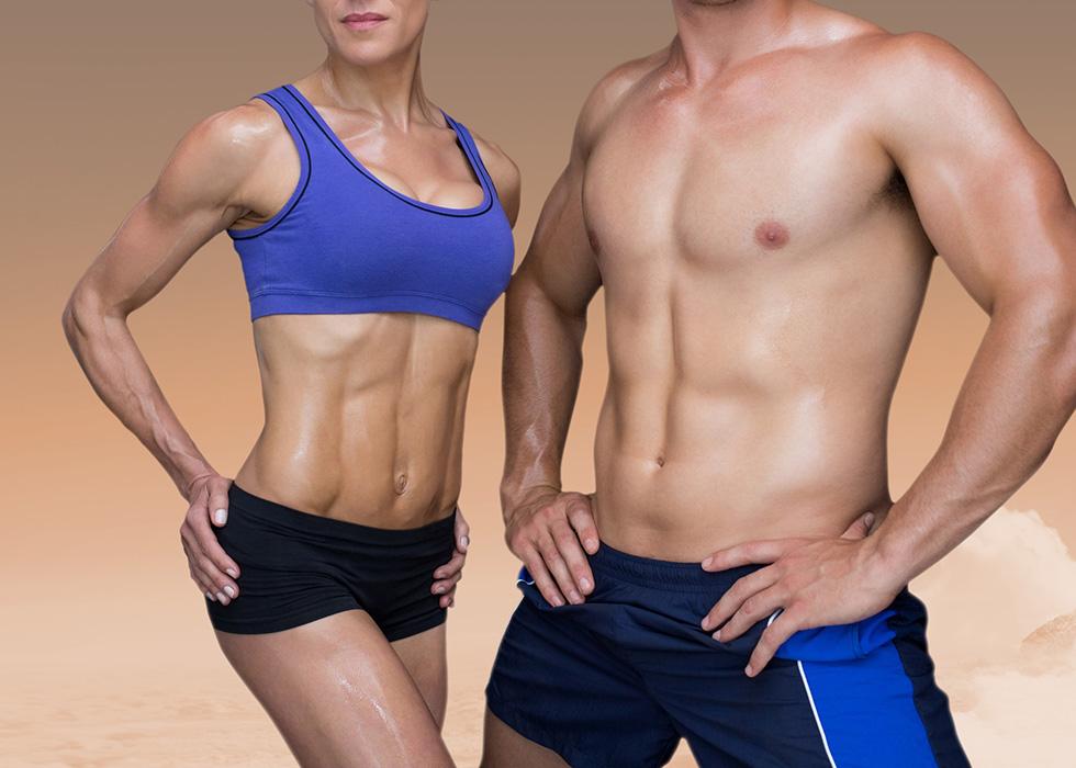 Man and woman torsos looking very muscular