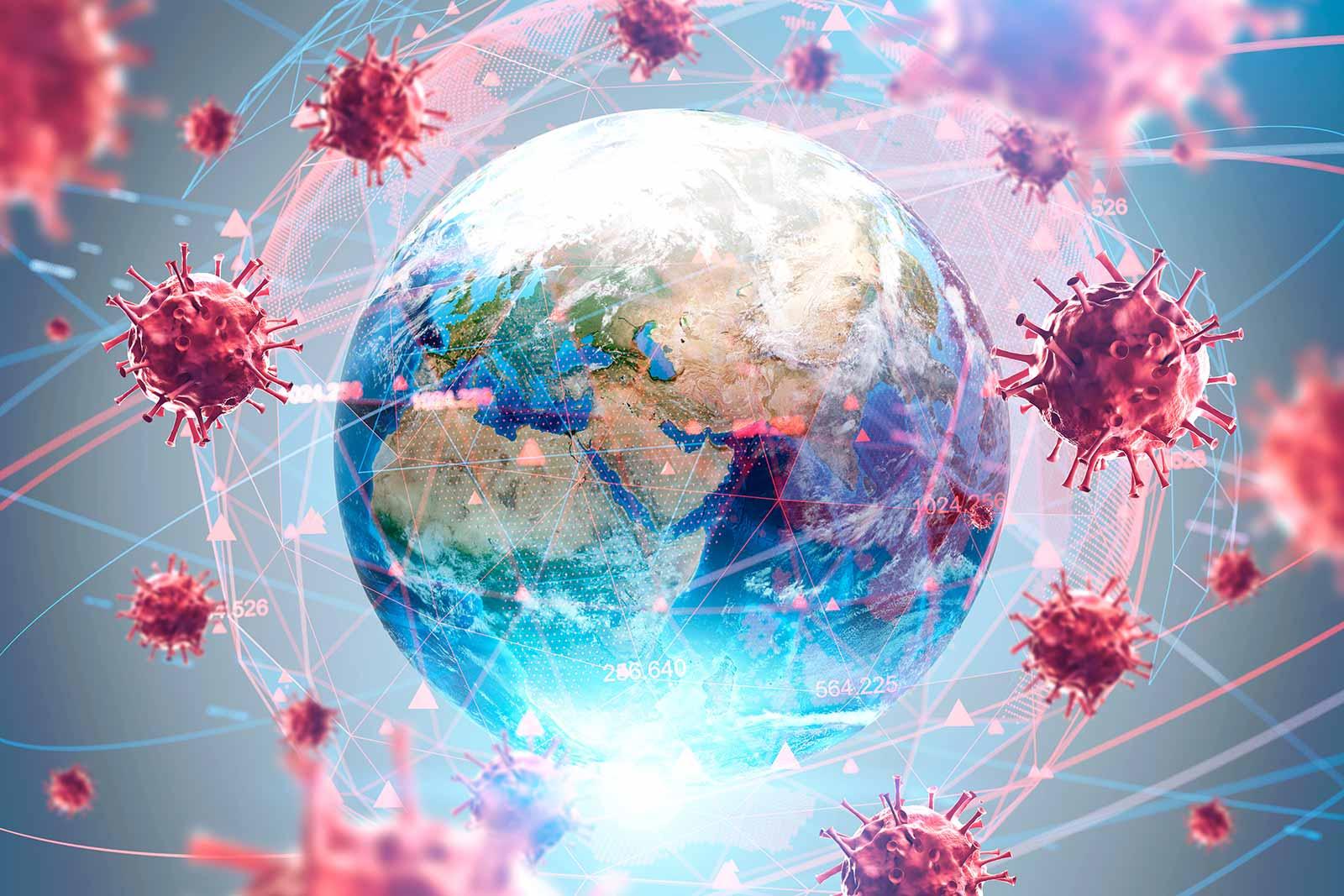 Fotografia ilustrativa do Planeta Terra rodeado por diversos vírus