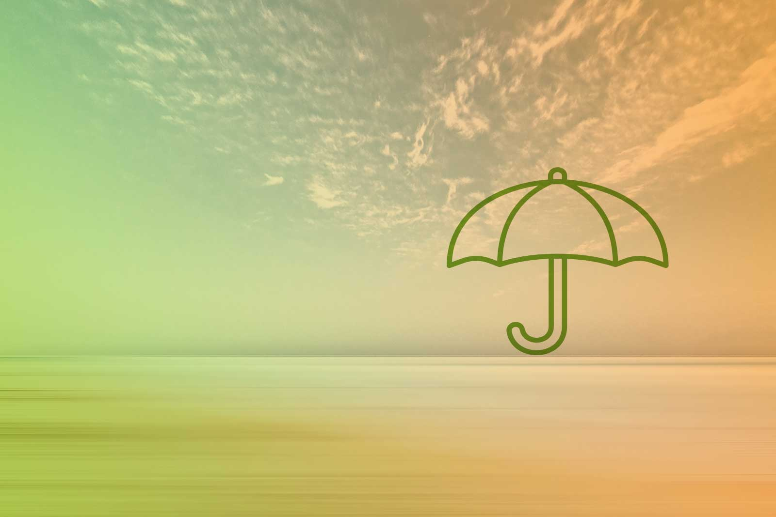 Imagem de um horizonte com um ícone de um guarda-chuva