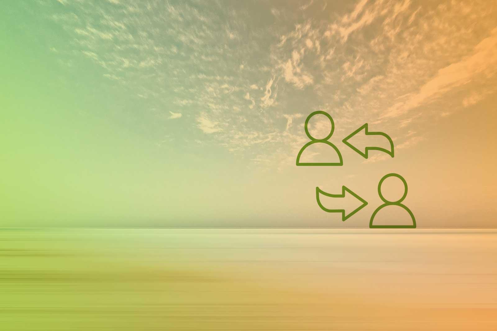 Imagem de um horizonte com um ícone de duas pessoas