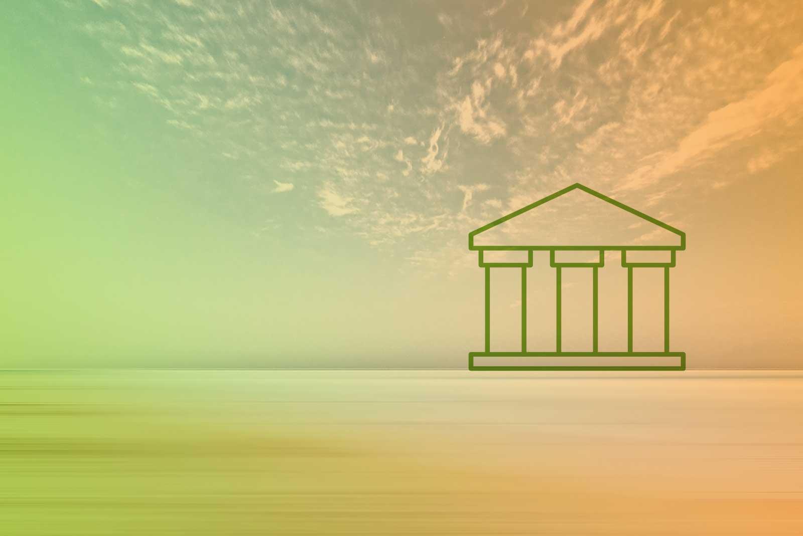 Imagem de um horizonte com um ícone de uma edificação com pilares