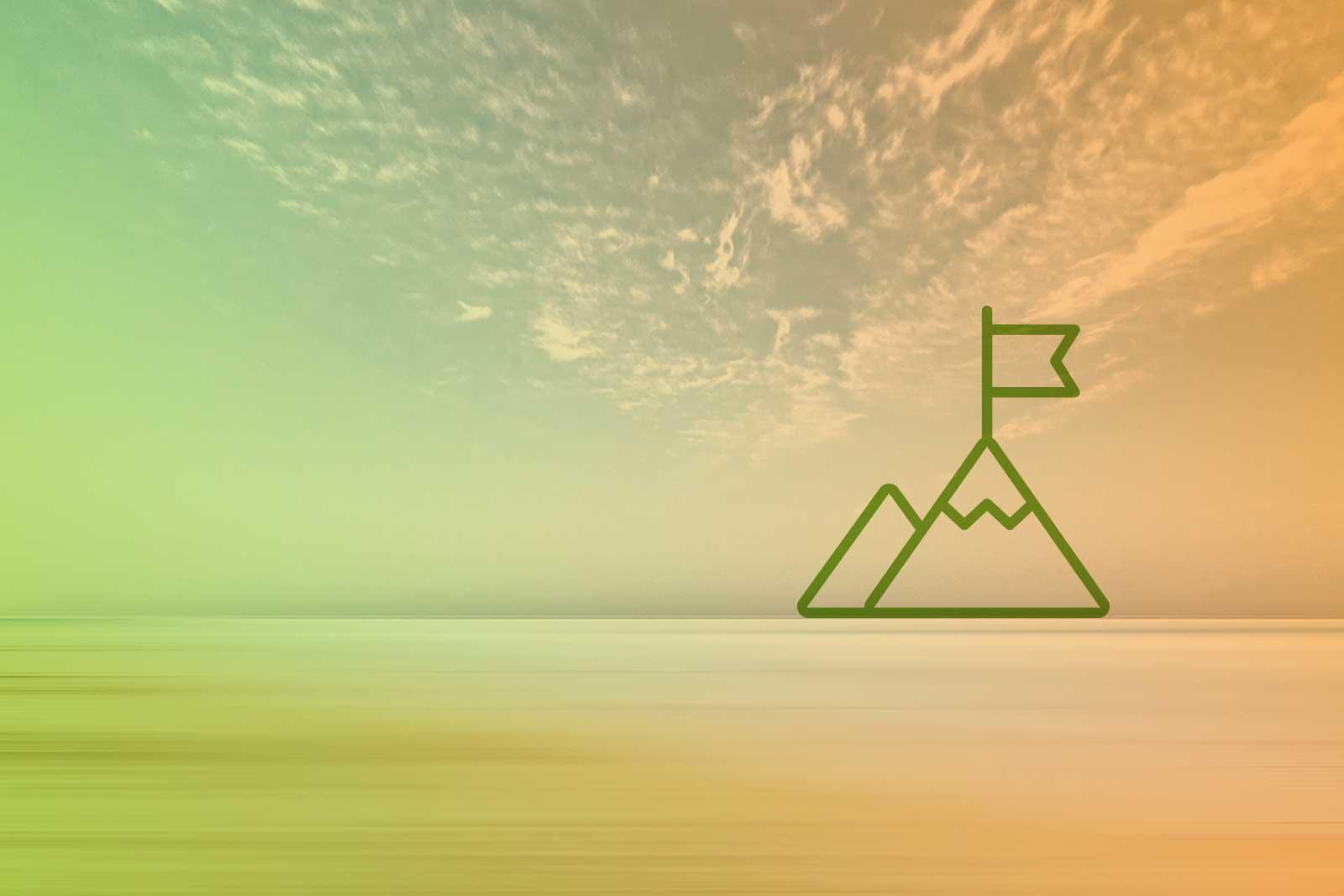 Imagem de um horizonte com um ícone de uma montanha