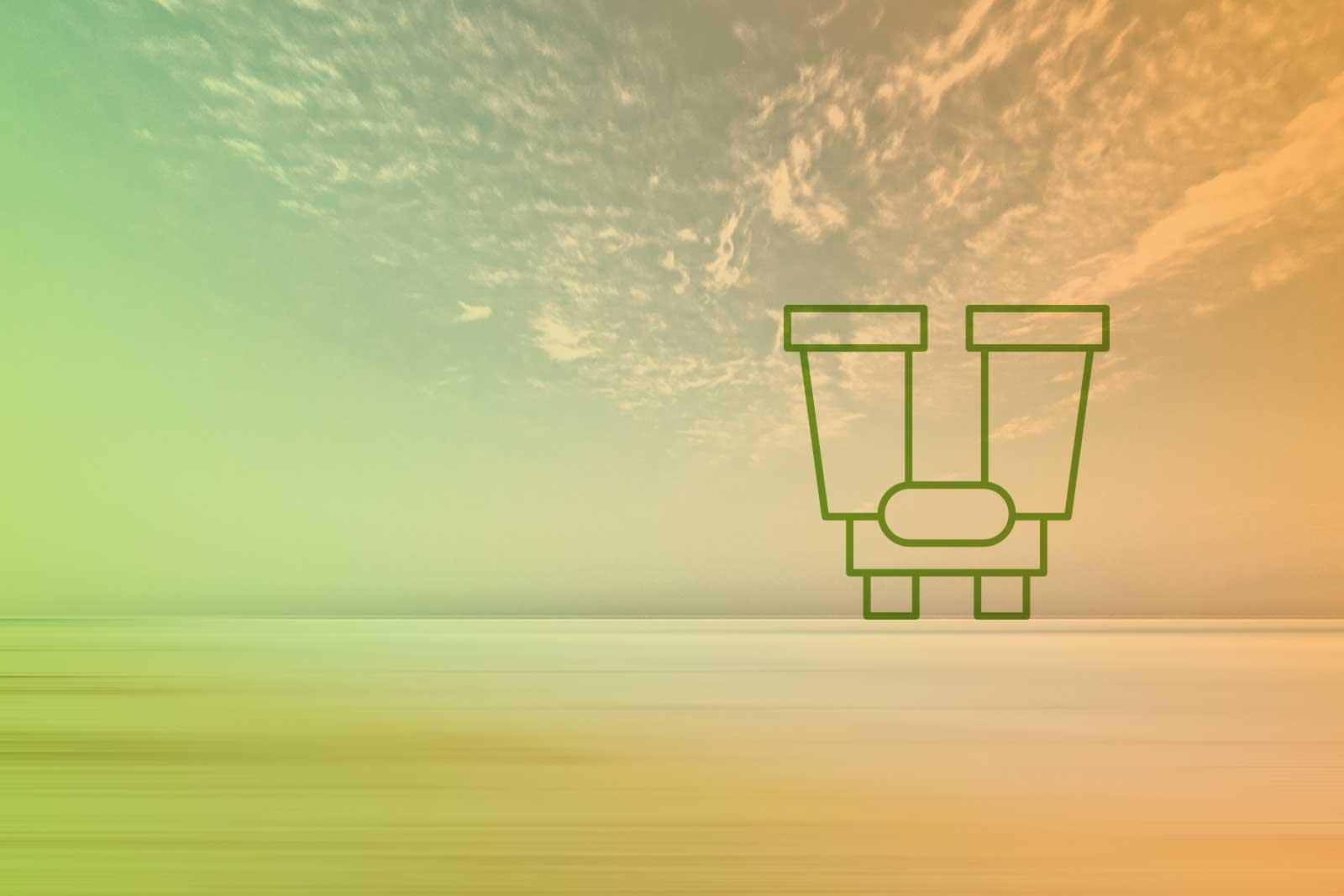 Imagem de um horizonte com um ícone de um binóculo