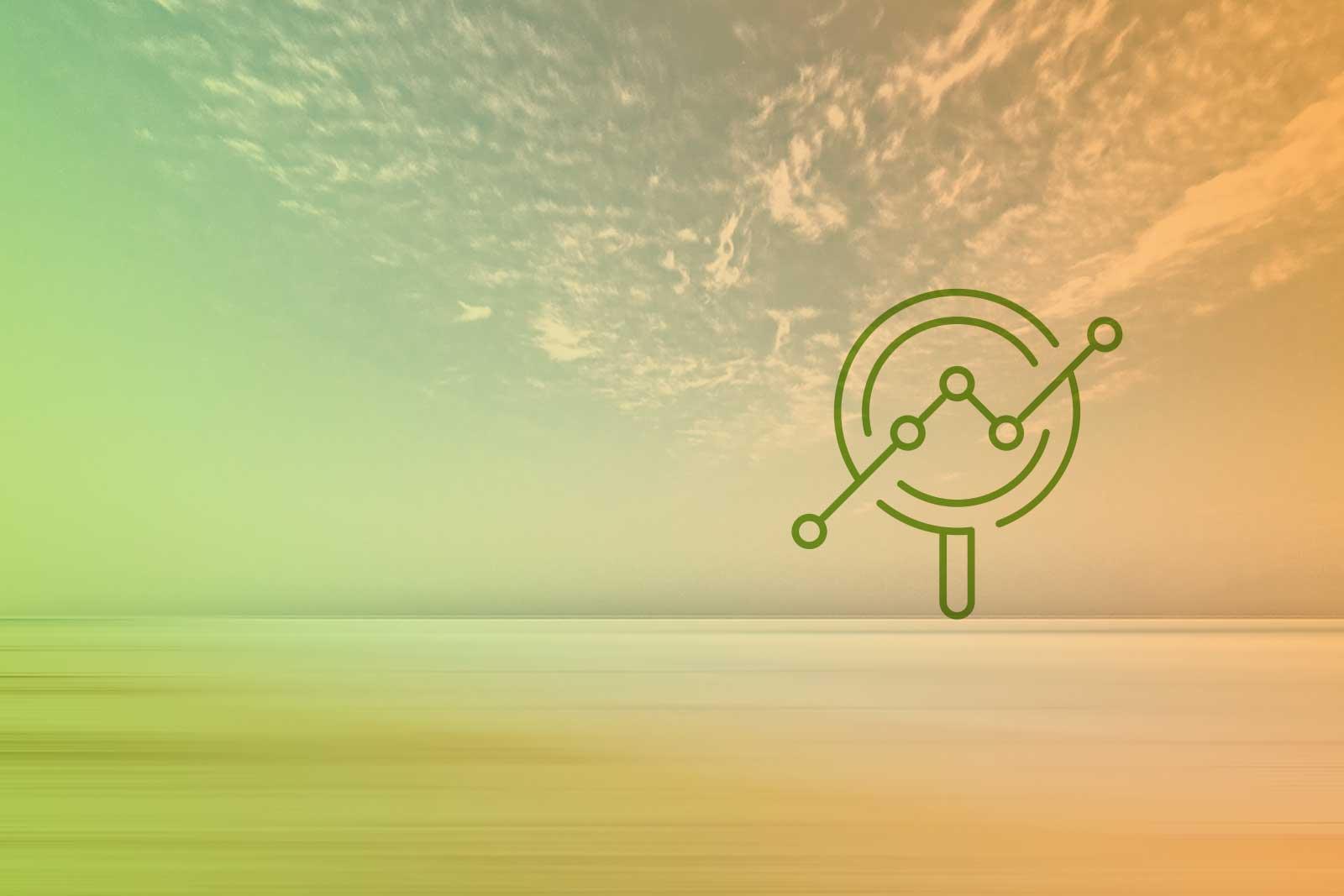 Imagem de um horizonte com um ícone de uma lupa
