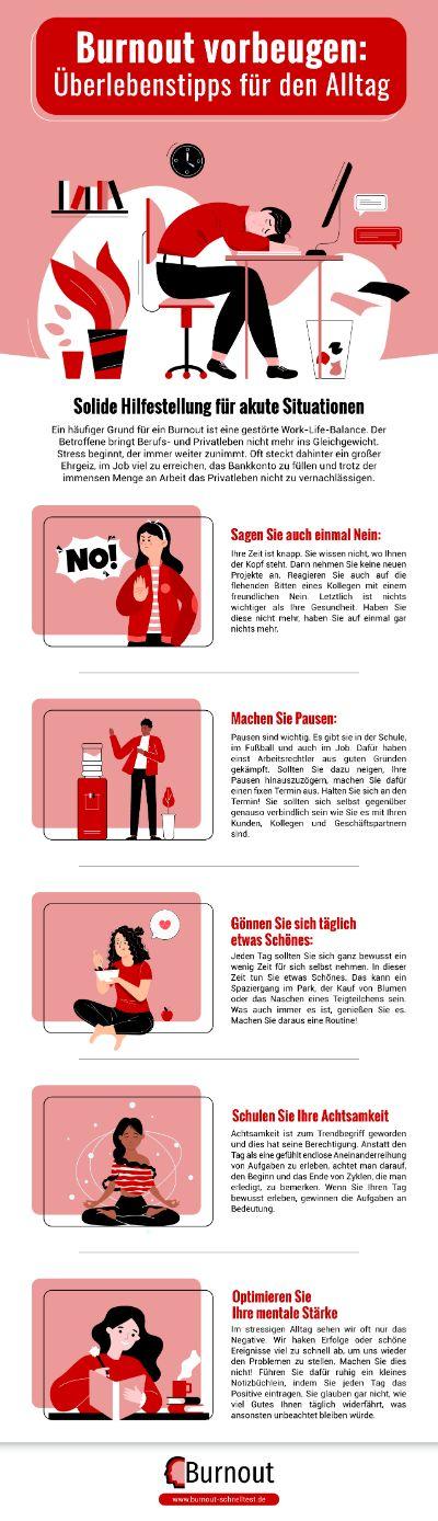 Infografik Burnout vorbeugen Überlebenstipps für den Alltag