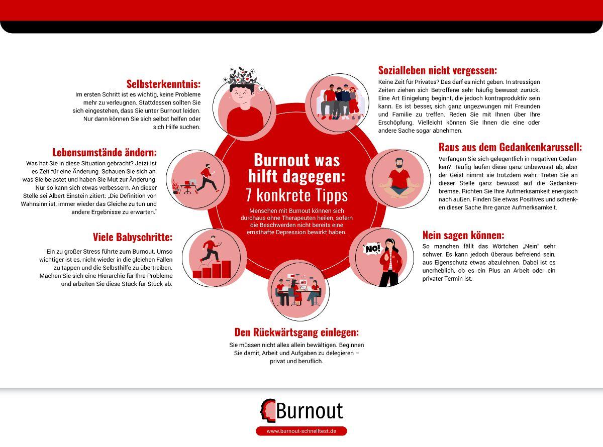 Infografik Burnout was hilft dagegen: 7 konkrete Tipps