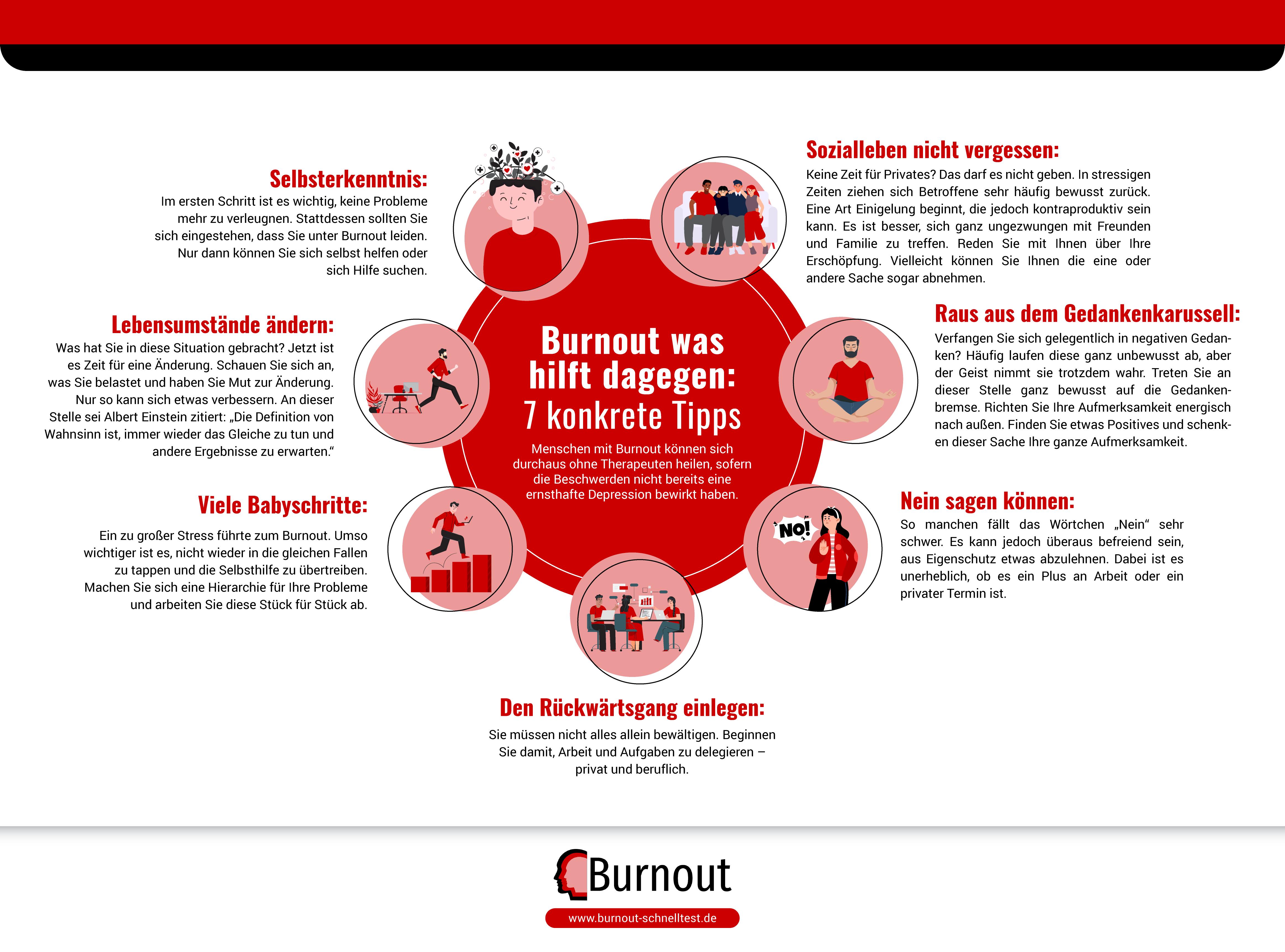 Infografik Burnout was hilft dagegen - 7 konkrete Tipps