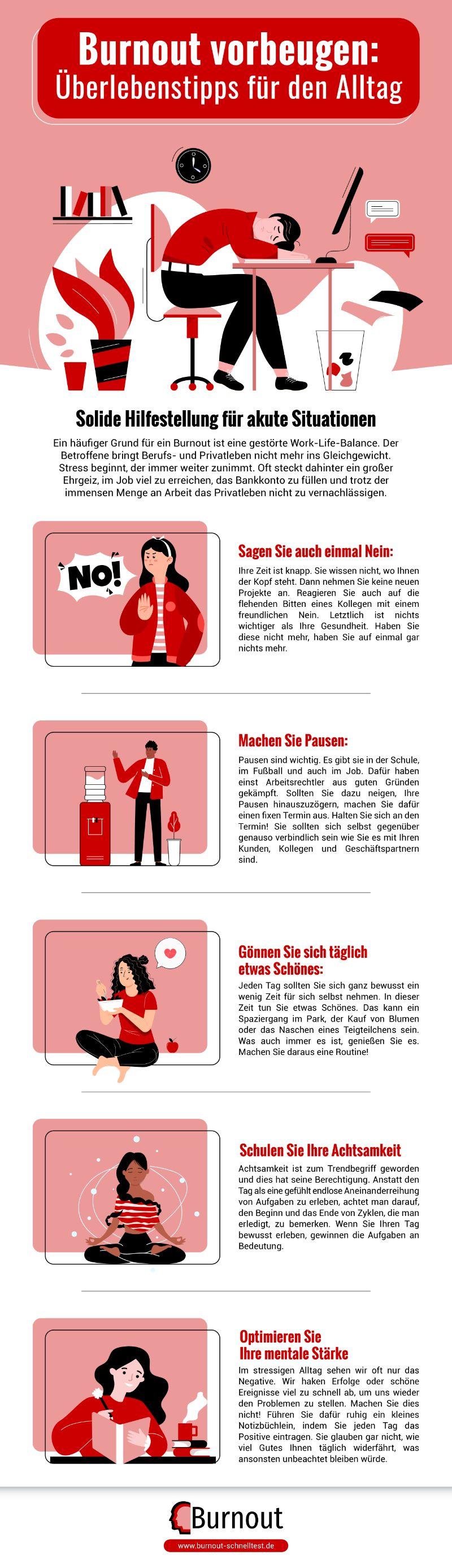 Infografik Burnout vorbeugen - Überlebenstipps für den Alltag