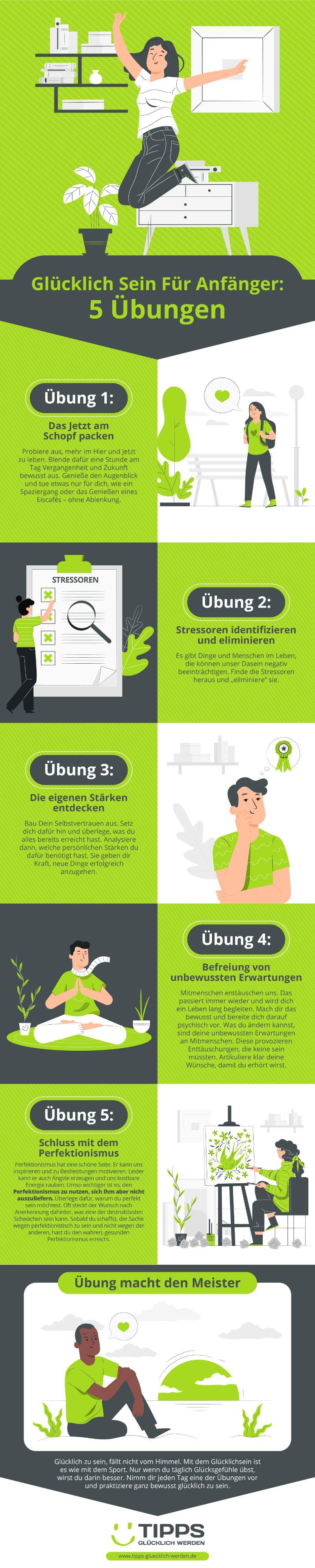Infografik Glücklich Sein Für Anfänger: 5 Übungen
