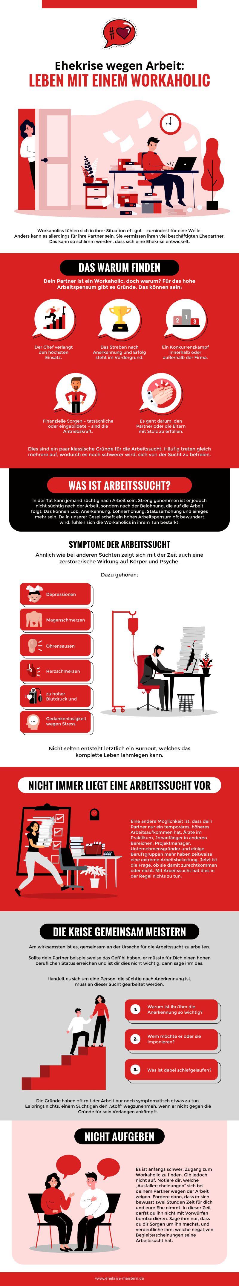 Infografik Ehekrise Wegen Arbeit: Partnerschaft Mit Einem Workaholic