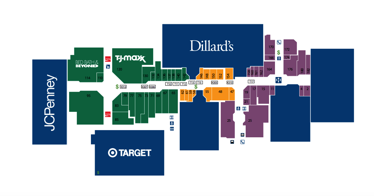 Map of the stores in Central Mall Port Arthur