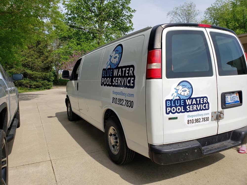 blue water pool service van