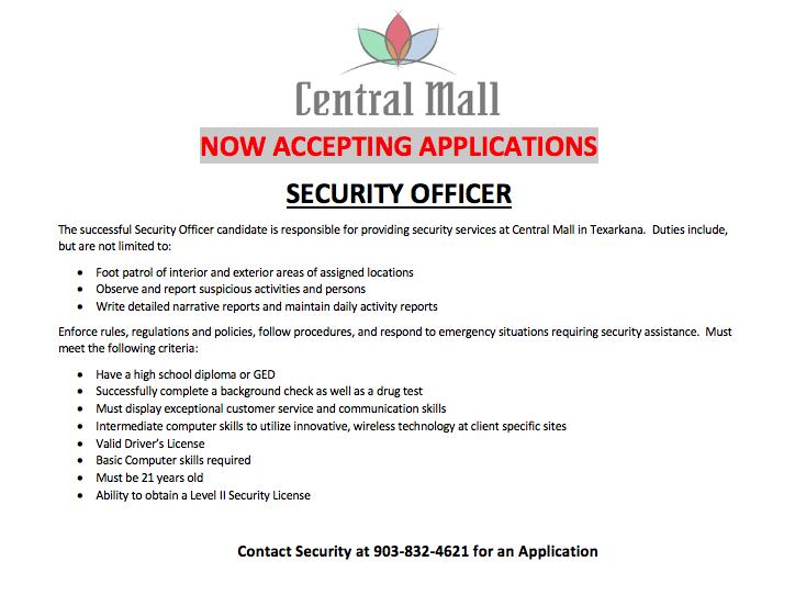 Security officer job posting information
