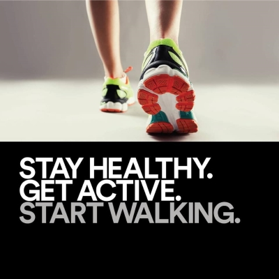 Stay healthy. Get Active. Start walking. written below a photo of a walking person's feet wearing tennis shoes