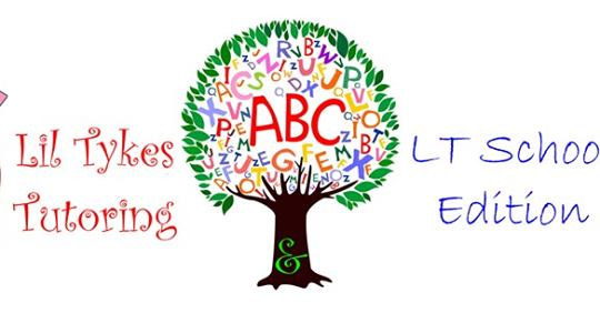 Lil tykes tutoring LT School Edition written next to a tree with the ABCs in the leaves