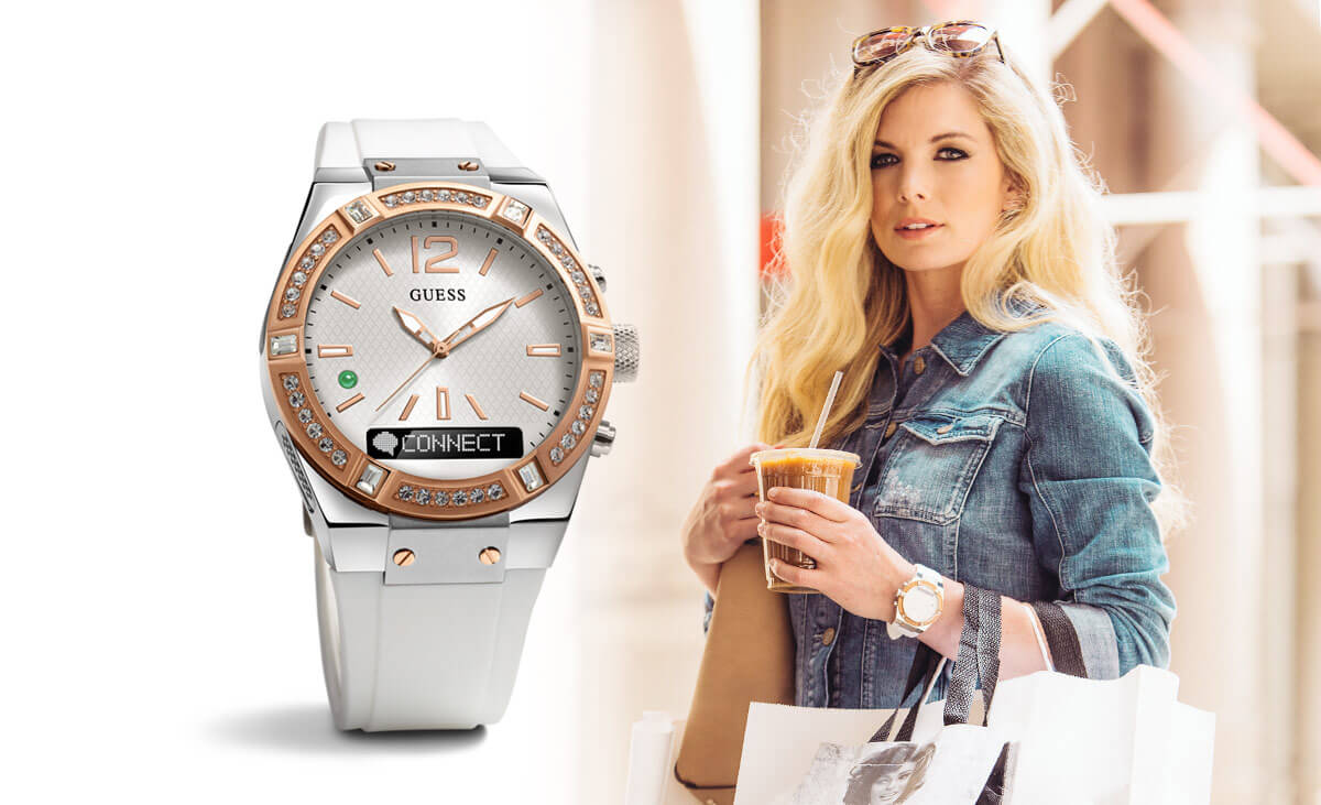 Photo of a woman holding a handbag next to a large photo of a watch