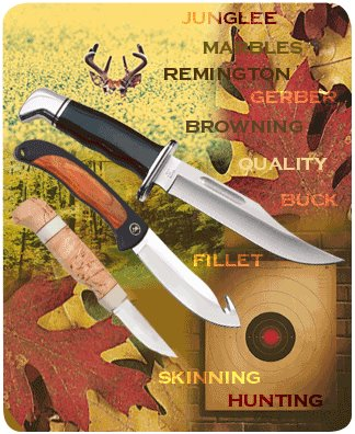 Photo of different knives with Junglee, Marbles, Remington, Gerber, Browning, Quality, Buck, Fillet, Skinning, and Hunting typed on the image.