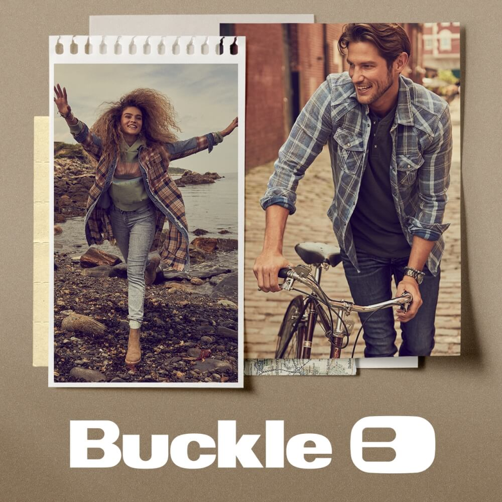 Two models wearing Buckle apparel