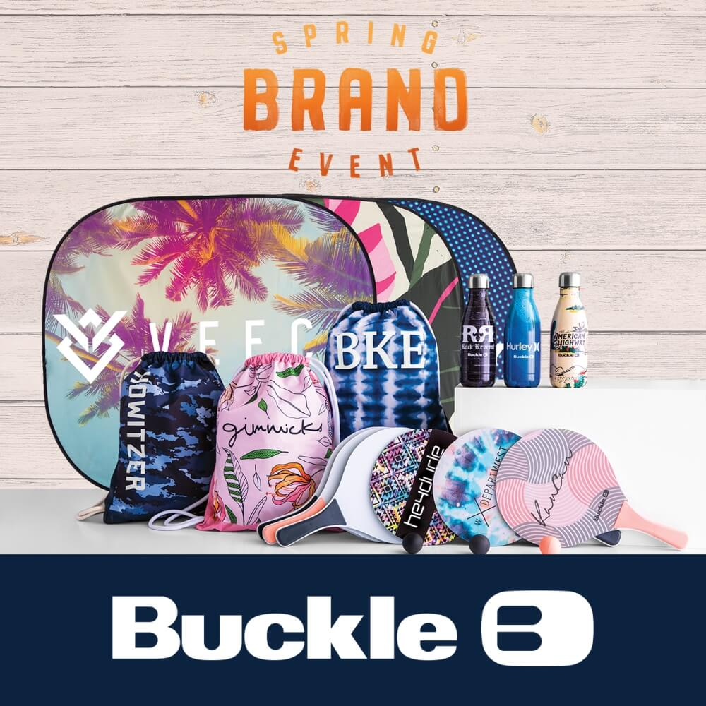 Ping pong paddles, sun shades, drawstring bags, and water bottles offered at Buckle