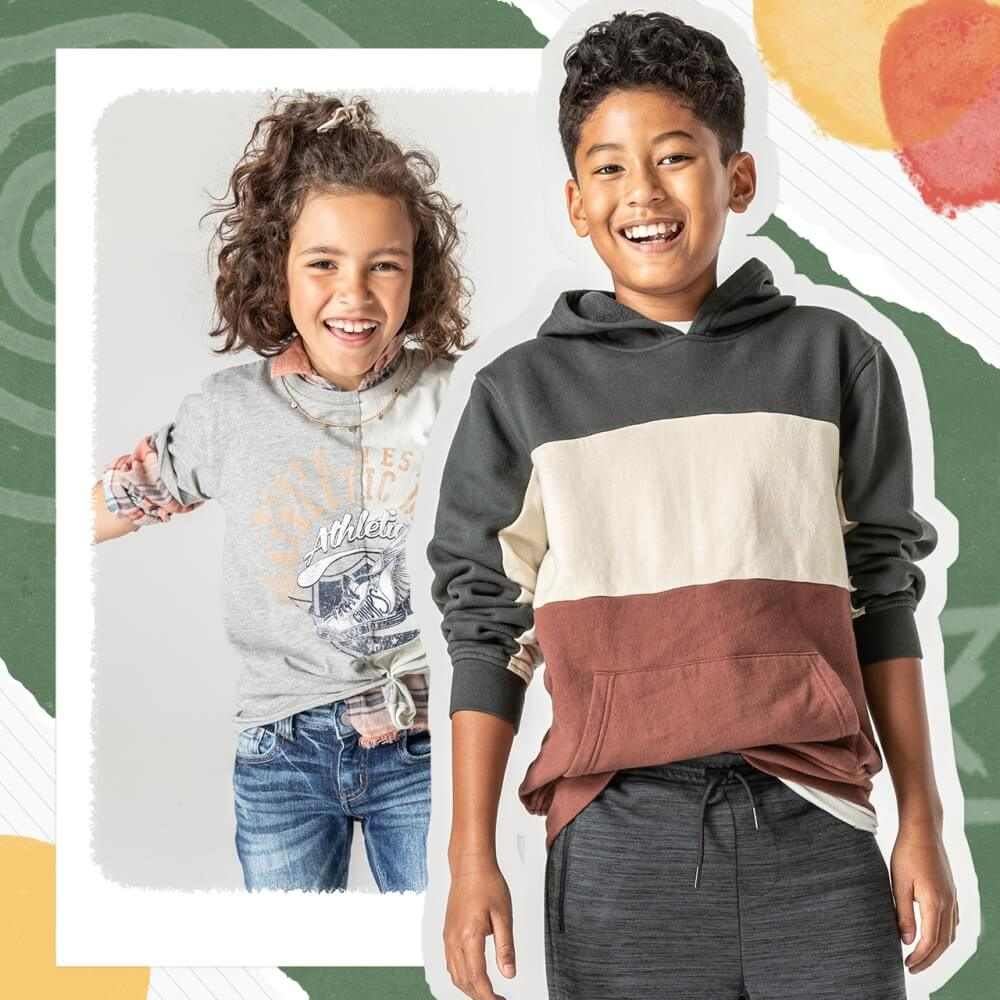 Two kids wearing Buckle clothing