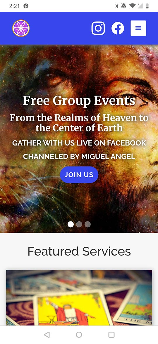 mobile home page of ascended vibrations
