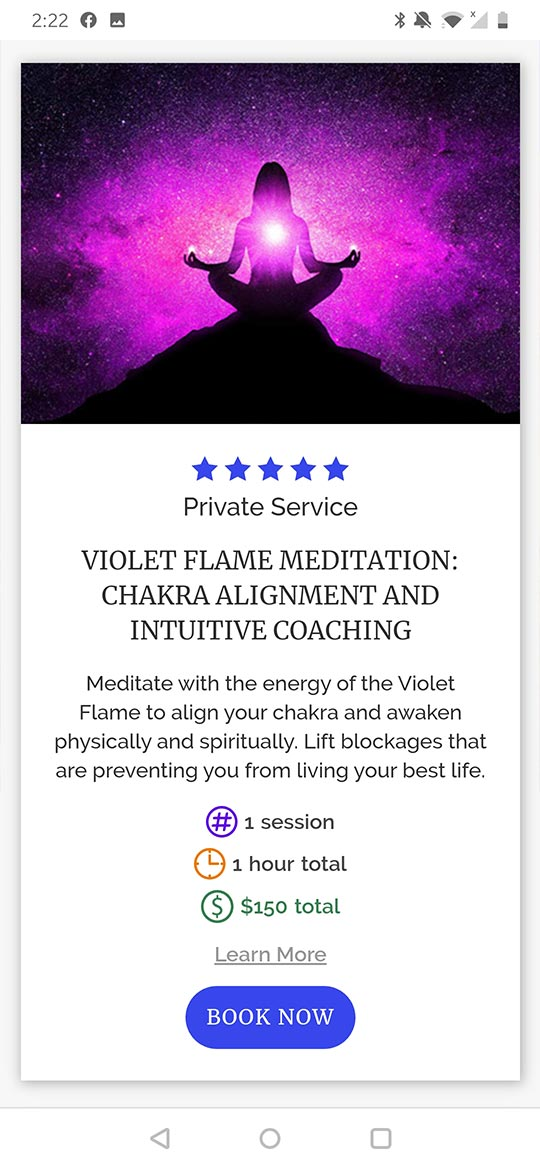 mobile service info card for ascended vibrations