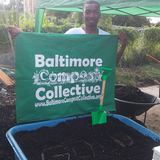 "@baltimorecompostcollective ""is a youth entrepreneurship program that trains participants in workforce skills, food access programming, and community-scale composting in the Curtis Bay neighborhood of Baltimore. It provides first-time employment and life skills mentorship for area youth, giving them experience working with a green start-up enterprise that they learn to run."" #amplifymelanatedvoices pictured: Kenny Moss photo @baltimorecompostcollective"