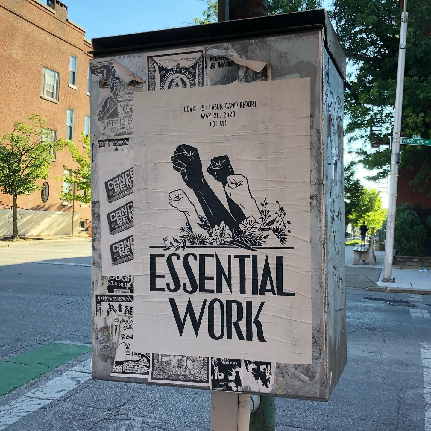 Loving this poster that appeared just down the street from the LARDER sometime in the last week by @laborcamp We've since learned there are several more up and down Charles St... Time for an art hunt! #publicart #protestcontinues #wanderthecity