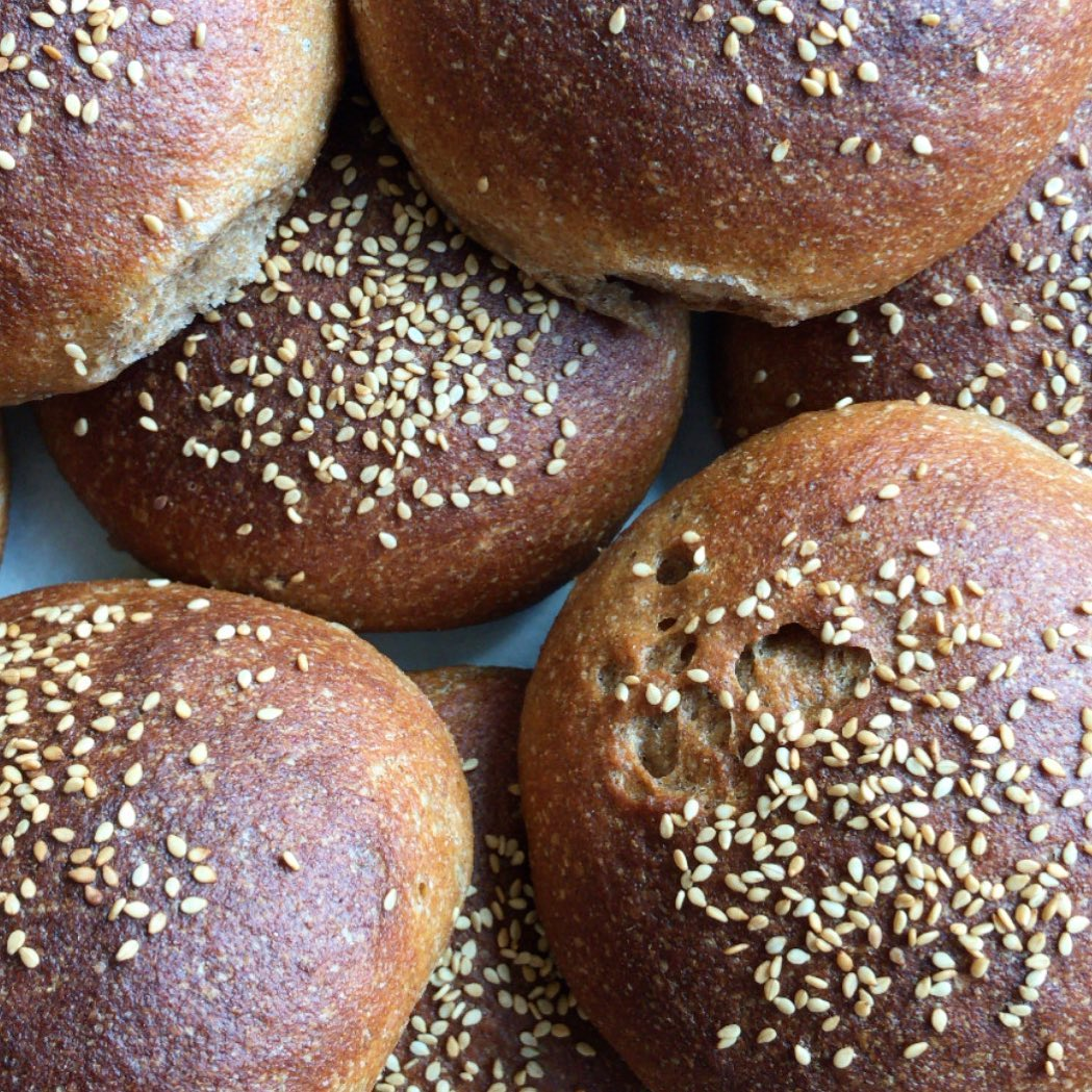 Thursday is Burger Night at Larder. Both Beef, Bison, Beet burger and Tempeh burger are served on @motzi.bread sesame buns, made from whole grains and local sunflower oil they are fluffy-cloud moist and taste of sunbaked fields. Or get yours on a GF sesame bun from @amaranth_bakery 💛 Vegan, GF, ominvore... we've got burgers for you all! #burgernight #motzibread #wholegrain #glutenfree #outdoordining #eaterdc #eatlocalbaltimore #supportsmallbusiness #bison #tempeh #soyfreetempeh