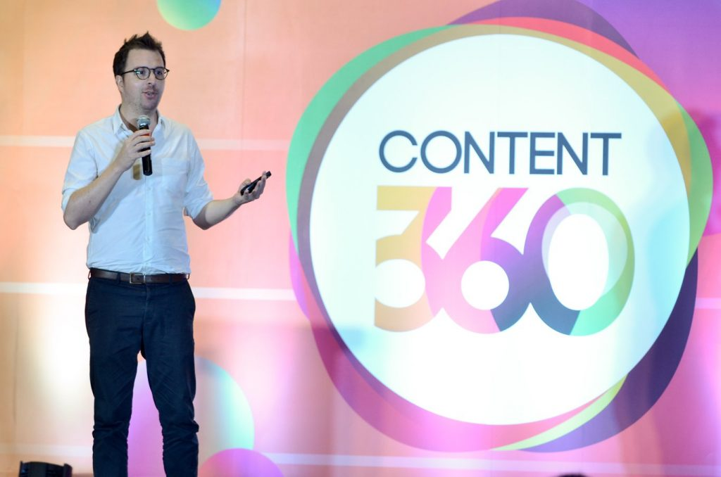 GetCRAFT Co-Founder and Group CEO Patrick Searle talks about content shock at Content360 Philippines 2018. (Photo from the Facebook page of Learning Curve Philippines)