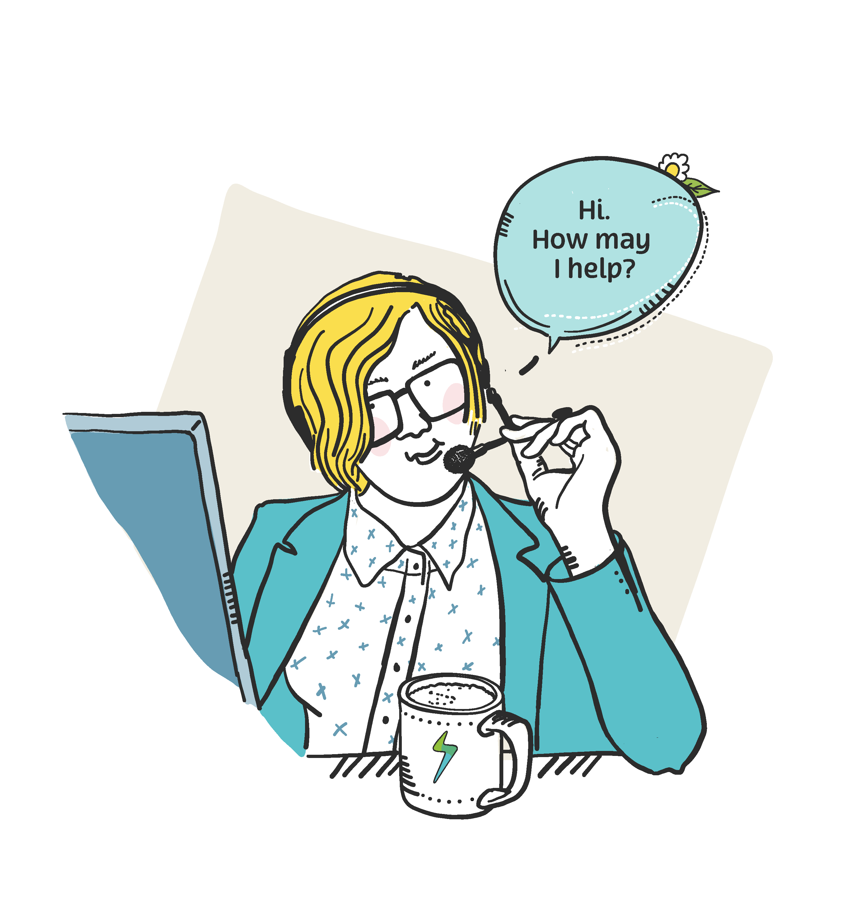 illustration of customer service staff member