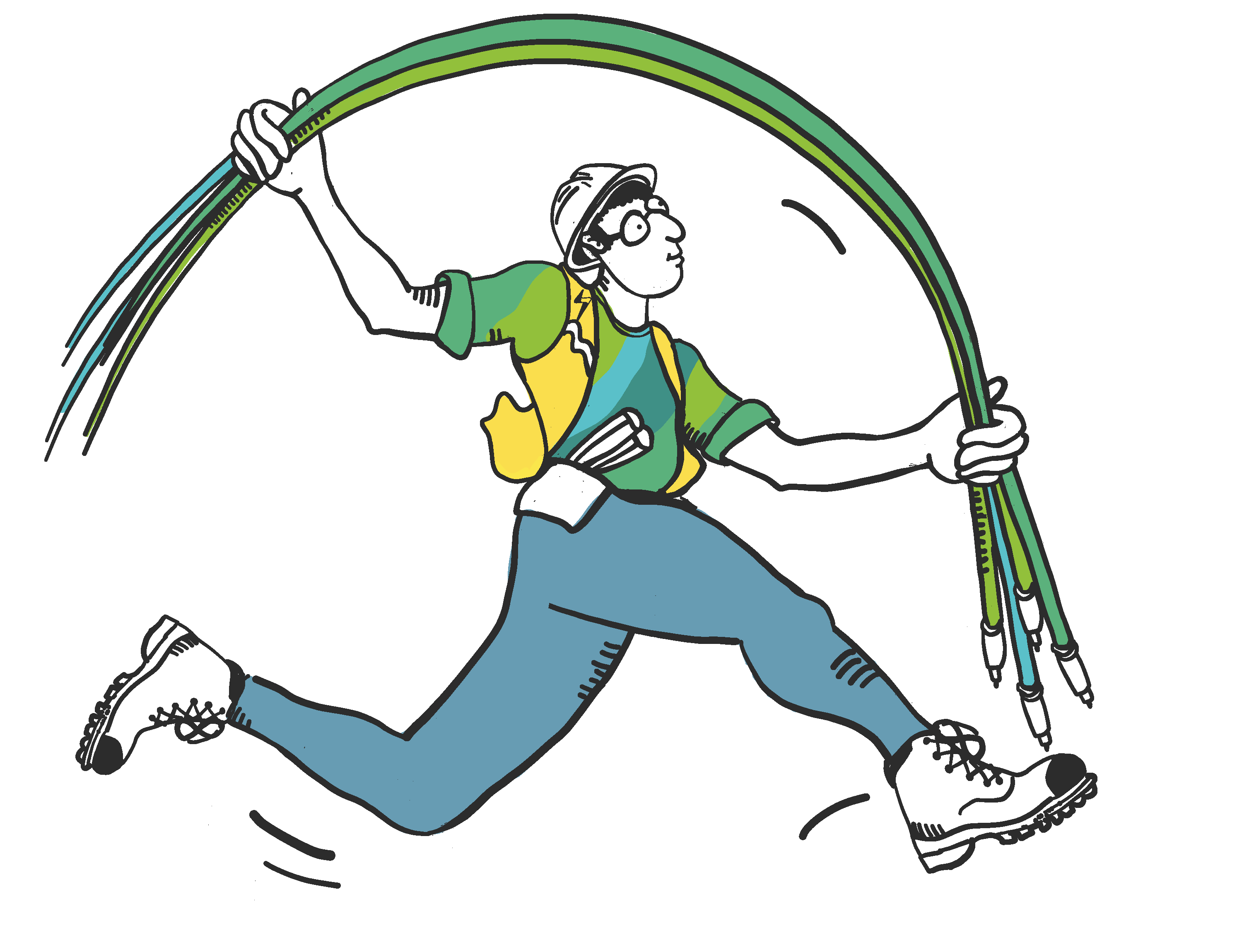Vector drawing of man with cables jumping