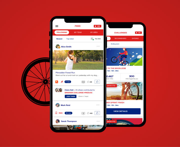 Two phones showing screens from Our Cycle Hub application. Click to view project