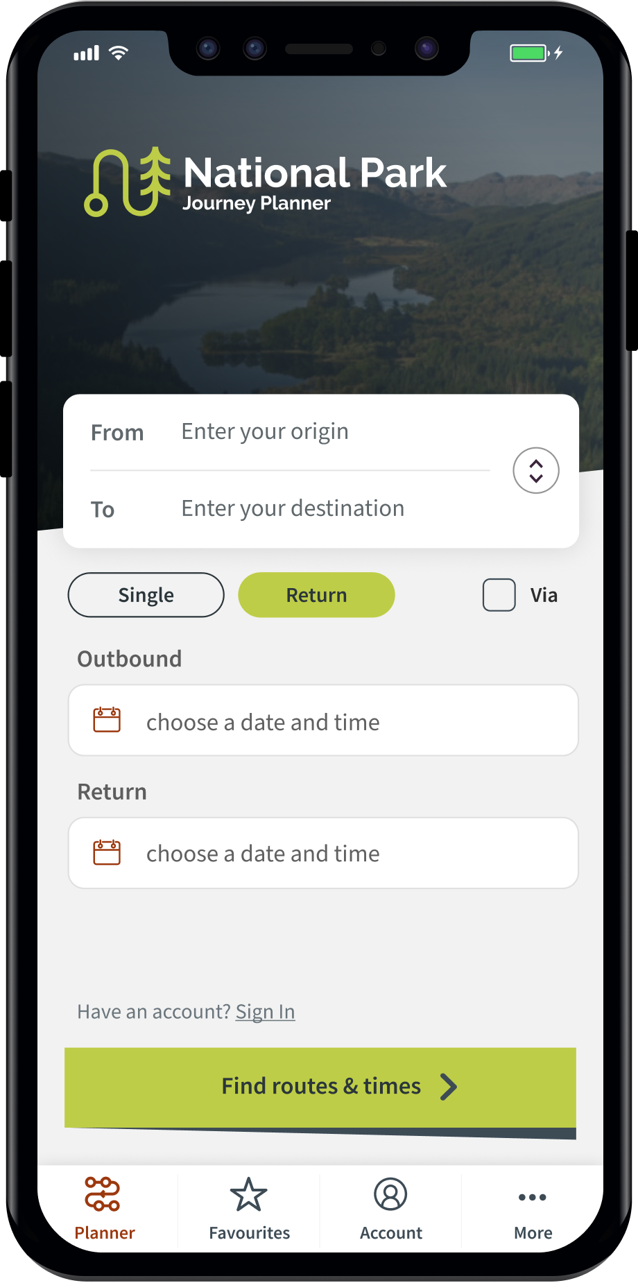 Phone showing cards of different journey options from GoAbz application