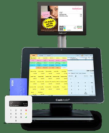 Bargeldlos bezahlen Terminal mit Bäckerei Kasse CashAssist