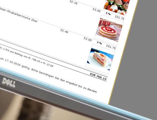 Angebot Offerte Lieferschein und Rechnung in einer Bäckerei Software