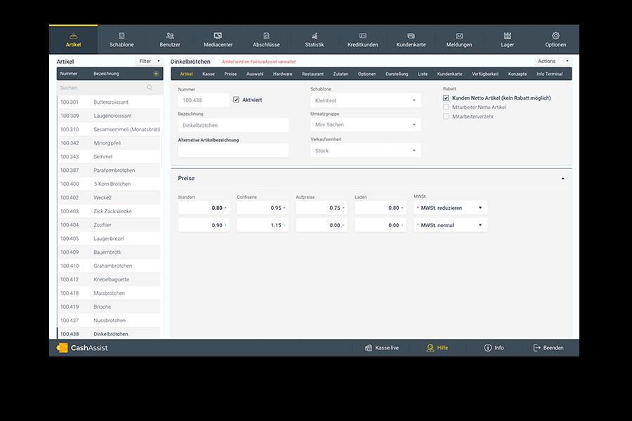 Screenshot von der CashAssist Benutzeroberfläche