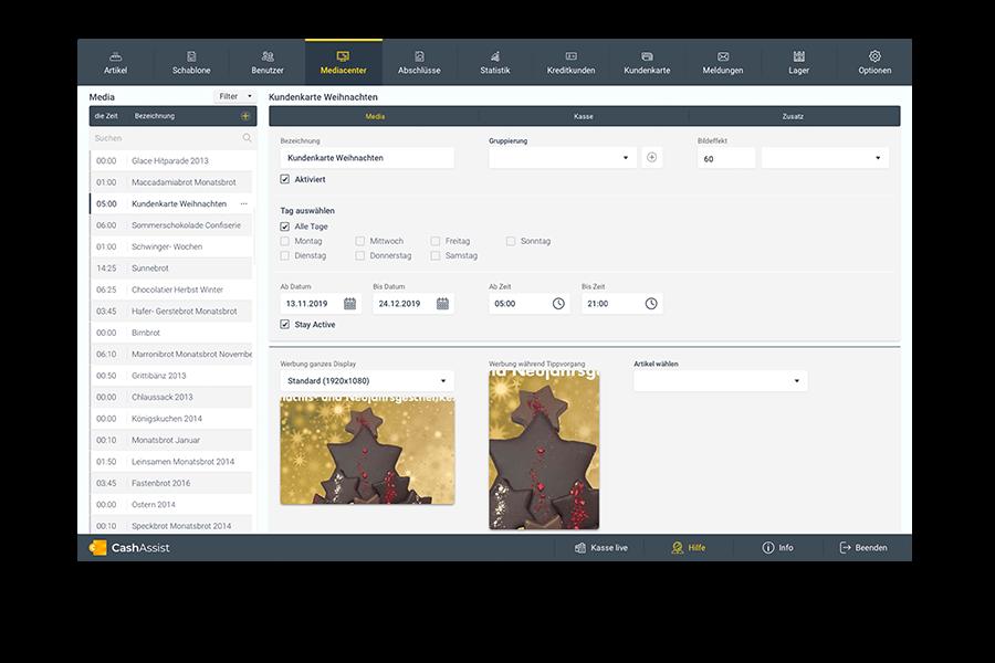 Screenshot von der CashAssist Benutzeroberfläche – Tab Mediacenter