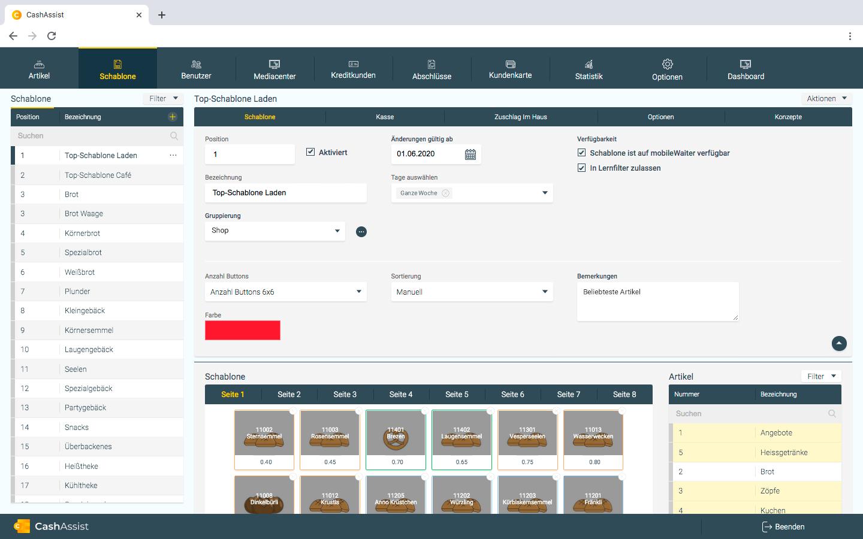 CashAssist Webinterface Schablone