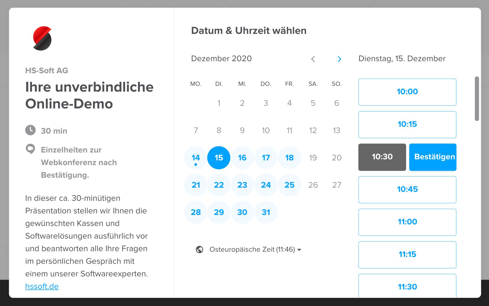 HS-Soft Terminkalender für online Präsentationen
