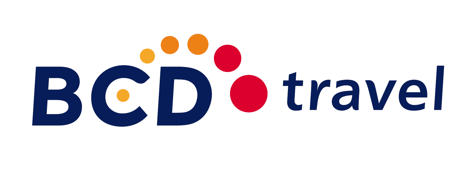 logo for BCD Travel in blue and red