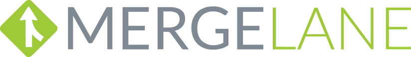 logo for Mergelane in green and grey
