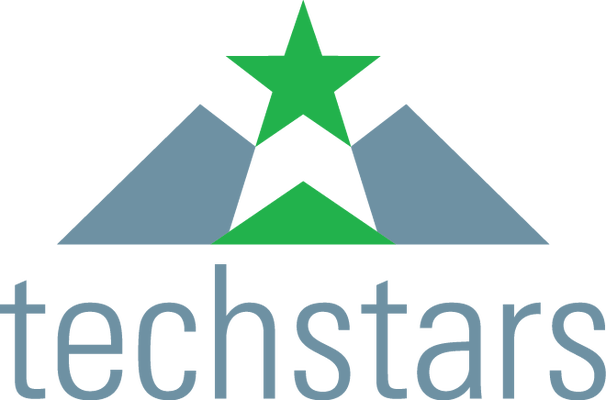 logo for Techstars in blue and green with green star over blue mountains